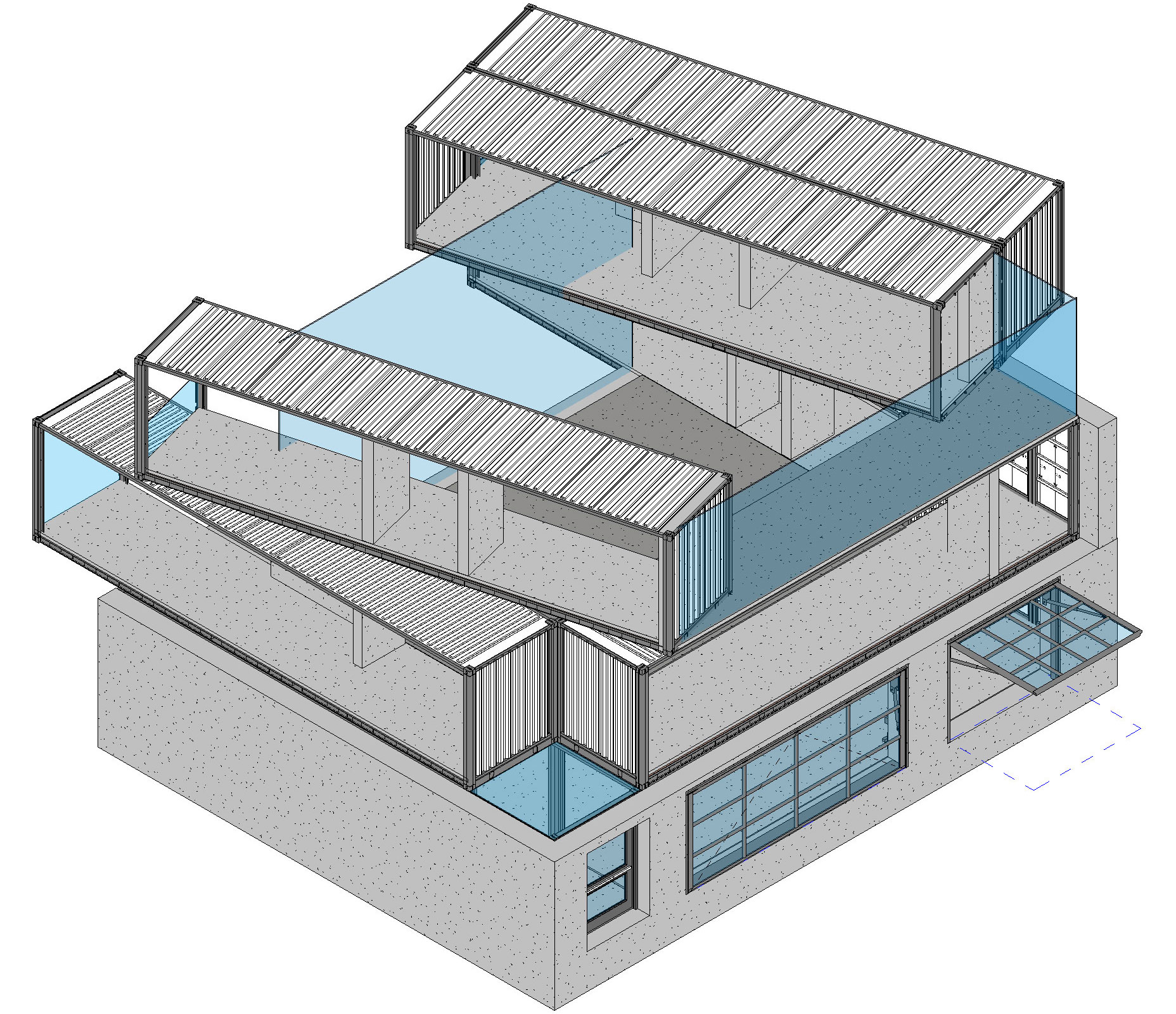 Mass model built in revit eco industrial house recycle reuse homes - Revit home design ...